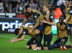 The Gunners celebrate the second goal of the night as well as Laurent Koscielny's second goal this season! #Arsenal
