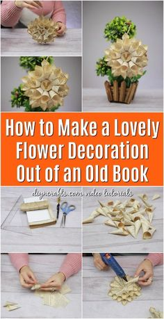 Wedding centerpiece or decor ideas . How to Make Flower Decorations Out of an Old Book! Great idea for recycling old books into beautiful home decor! Diy Flowers, Flower Decorations, Paper Flowers, Fabric Flowers, Cute Crafts, Easy Crafts, Diy And Crafts, Kids Crafts, Easy Diy
