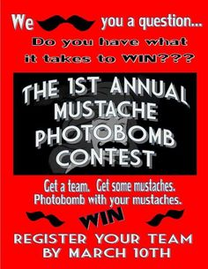 Mustache Photo bomb Contest teen program---lots of good event ideas at this library!