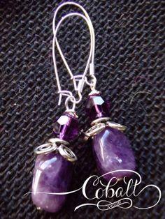 Cobalt Amethyst & Swarovski earrings