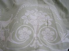 SOLD  Vintage Soft Mint Green Linen Damask by JewelsOfHighElegance, $42.50
