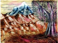"""""""Ladakh Mountains"""" by Vishwani Chauhan; pencil, ink, chalk, and charcoal on packaging paper."""