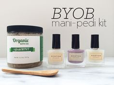 #FridayDeal alert! Get 20% off a BYOB Mani-Pedi Set from Conscious Beauty, Scotch Naturals and Organic Bath Co. The set, usually priced at $70, includes one Sticky Base Coat, your choice of one color and one On the Rocks top coat from Scotch Naturals, plus your choice of one sugar scrub (RefreshMINT, Stress Less or Zesty Morning scents) from Organic Bath Co. Oh, and there's that cute little reusable bamboo spoon as a bonus. Just use code NMDL at the checkout.