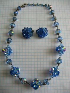 Vintage Vendome Blue Crystal Necklace and Earrings