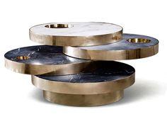Solaris Kinetic Marble and Brass Coffee Table by Lara Bohinc for Lapicida – Bohinc Studio