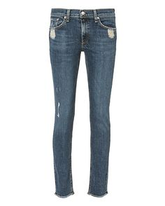 Rag & Bone/JEAN La Paz Distressed Skinny Jeans: Distressed to perfection, these skinny leg jeans also feature unfinished cuff edges. Five-pockets. Zip/button closure. In blue wash. Fabric: 98% cotton/2% polyurethane Made in USA.  Model Measurements: Height 5'10 ; Waist 24 ; Bust 31 wearing size 26 ...