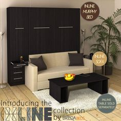 InLine Murphy Bed with Hutch and InLine Sofa by BredaBeds