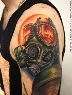 london reese brittan reese brittan london reese best ink tattoo gas mask gasmask war tattoo