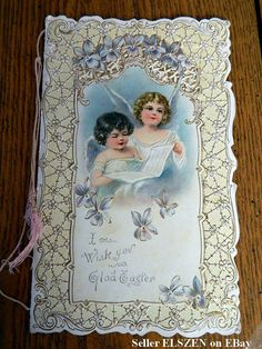 Beautiful Victorian Easter Card with Angels!  1904.