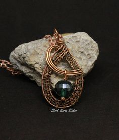 Copper Teardrop Necklace with Green Ori Crystal