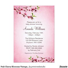 Pink Cherry Blossoms Vintage Baby Shower 5x7 Paper Invitation Card