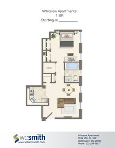 One Bedroom Floor Plan Whitelaw In Northwest Washington Dc Wc Smith Apartments
