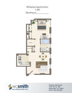 One Bedroom Floor Plan Whitelaw In Northwest Washington Dc Wc Smith Apartments