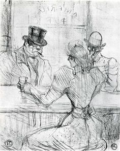 At the Bar Picton, Rue Scribe - Henri de Toulouse-Lautrec: Post-Impressionism Henri De Toulouse-lautrec, Cafe Concert, Drawing Sketches, Drawings, Drawing Art, Free Art Prints, Illustration, Caravaggio, Oeuvre D'art
