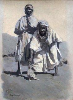Peinture Algérie - Paul LEROY Jeunes garçons au fennec. Huile sur carton, signé en bas à gauche.