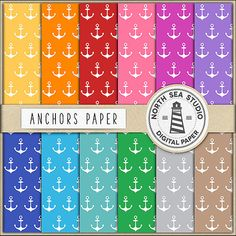 Anchors Digital Paper -  http://etsy.me/2d9IENb This pack includes 12 digital scrapbook papers with anchor patterns.