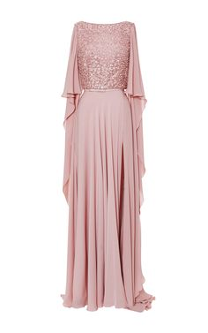 Blush Embroidered Cape Sleeve Gown by Elie Saab