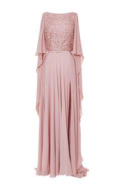 Blush brodé Cap manches robe par Elie Saab pour Précommande Moda Operandi