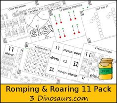 Free Romping & Roaring Number 11  - coloring pages, playdough mats, counting, tracing and more 39 pages great for ages 3 to 6 or 7 - It has a crayon  theme - 3Dinosaurs.com