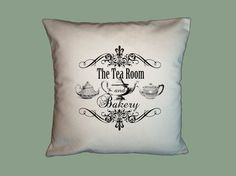 Canvas Pillow Cover   Tea Room  Typograpny   by WhimsyFrills, $20.00
