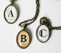 Custom initial necklace. Monogram pendant necklace. Diictionary jewelry. Personalized jewelry.. $22.50, via Etsy.