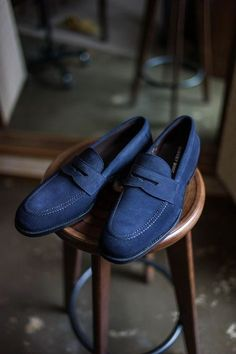 New Handmade Mens Blue Suede SlipOns, Men moccasins, Men Real Leather Shoes - Casual