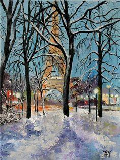 YARY DLUHOS Limited Edition Art PRINT Winter Landscape Snow River Sunrise