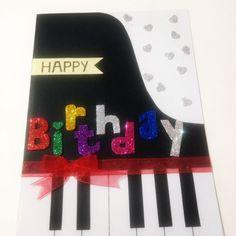#diy piano card with glitters foam