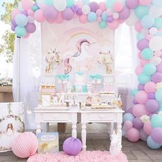 Pretty Pastel Unicorn Birthday Party Dessert Table featured on Pretty My Party