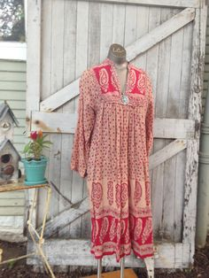 1970s batik print tent dress 70s indian cotton tunic Festival size medium Vintage gauze gypsy dress by melsvanity on Etsy