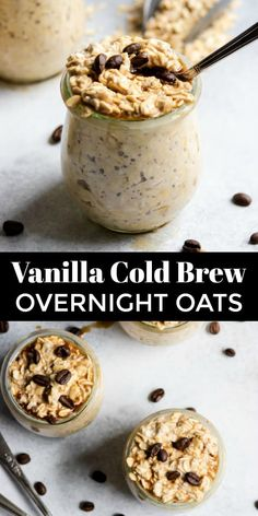 Vanilla Cold Brew Overnight Oats Coffee and breakfast all in one? These Vanilla Cold Brew Overnight Oats are the perfect breakfast combination! This recipe is simple, healthy and so delicious–all the fuel you need to start the day! Overnight Oats In A Jar, Healthy Overnight Oats, Vanilla Overnight Oats, Dairy Free Overnight Oats, Overnight Breakfast, Perfect Breakfast, Breakfast Ideas, Healthy Breakfast Recipes, Healthy Food