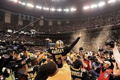 Hartley after kicking the field goal that put the saints in the super bowl! Sacred Hart!!!!