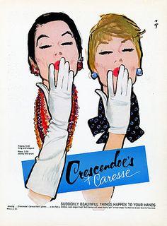 1960 Crescendoe Gloves ad ~ illustration by René Gruau Jacques Fath, Fashion Collage, Fashion Art, Vintage Fashion, Fashion Design, Dior Fashion, Mode Vintage, Vintage Ads, Vintage Images