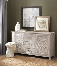 Lots of storage and style. Loving our Chennai Dresser for the bedroom. A detailed design on the doors gives it standout appeal. A gorgeous whitewash finish on this hand-carved mango wood dresser completes the look. Includes removable shelves.