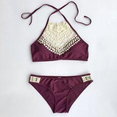 2017 Summer Women Sexy Bikini Set Push Up Swimwear Female lace Swimsuit Beachwear Bathing Suit Brazilian Biquini maillot de bain Sexy Bikini, Bikini Dos Nu, The Bikini, Halter Bikini, Lace Swimsuit, Halter Tops, Halter Neck, Bikini Swimwear, Summer Bikinis