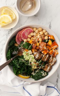 Easy Power Lunch Bowls - healthy filling lunch or dinner: Roasted Sweet Potatoes, marinated chickpeas, avocado, kale, hemp seeds with tahini and lemon!