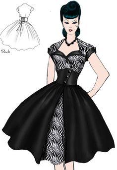 Rockabilly Sweetheart Zebra Dress by Amber Middaugh Retro Mode, Vintage Mode, Moda Vintage, Retro Vintage, 1940s Fashion, 50 Fashion, Vintage Fashion, Fashion Design, Dress Sketches