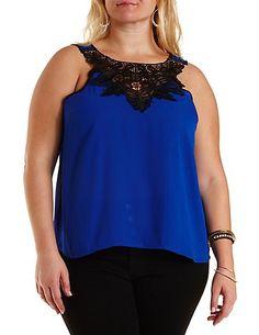 Plus Size Chiffon Crochet Swing Tank Top #CharlotteRussePlus #Charlotte0to24 #Plus