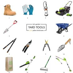 These are the tools we use in spring, summer and fall to keep our lawns + gardens looking happy and healthy! via Yellow Brick Home #gardening #gardentools