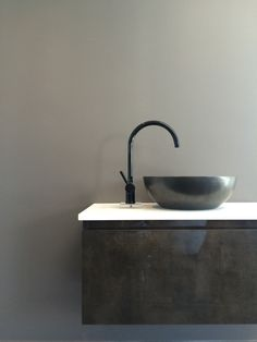 Robertson Auckland Showroom // Pan Mixer in Black by Zucchetti + Osaka Countertop Basin by Bagno Design
