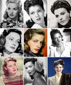 The 1940s brow tended towards a medium width and length, and varied from highly groomed (Diana Barrymore, top center) to somewhat more natural (Ingrid Bergman, bottom left).