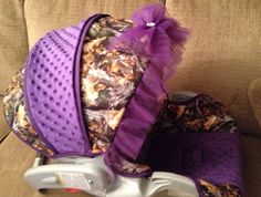 Purple/Camo Minky Carseat Cover and Headrest