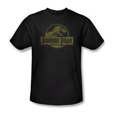 Jurassic Park T-shirt Movie Distressed Logo Adult Black Slim Fit Tee @ niftywarehouse.com