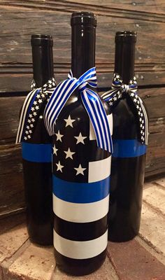 Back the Blue bottle set Police wine bottles Thin BLue Line