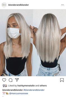 Silver Blonde Hair, Blonde Hair Shades, Blonde Hair Looks, Balayage Hair Blonde, Platinum Blonde Hair, Blonde Haircuts, Hair Highlights, Medium Hair Styles, Dyed Hair
