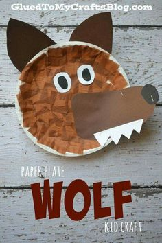 Plate Wolf {Kid Craft} Cute and easy wolf craft. This would be great for Peter and the Wolf or for dramatizing Little Red Riding Hood.:Cute and easy wolf craft. This would be great for Peter and the Wolf or for dramatizing Little Red Riding Hood. Paper Plate Crafts For Kids, Daycare Crafts, Paper Crafts For Kids, Toddler Crafts, Book Crafts, Decor Crafts, Party Crafts, Fun Crafts, Paper Plate Art