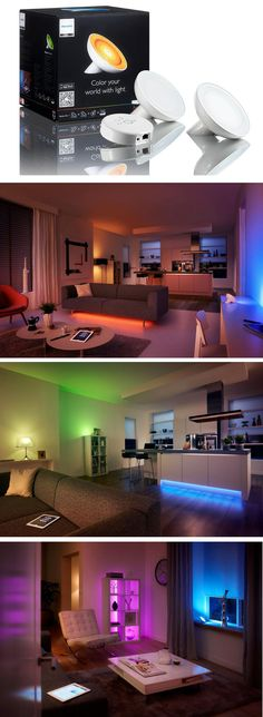 Here's the next generation of home lighting. Use your smart phone or tablet to adjust the color and brightness of these smart LED lights to create different looks and moods. The possibilities are nearly endless.