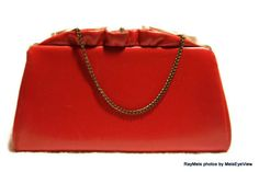 1960s 1950s Vintage Red Purse Chain Handle Ruffled by RayMels, $15.00