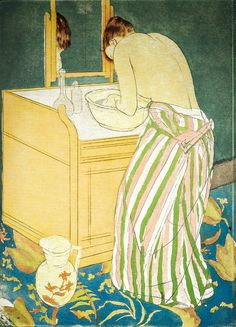 Mary Cassatt - Woman Bathing 1891 - Degas/Cassatt Exhibit at National Gallery of Art Washington DC Edgar Degas, Gravure Illustration, Illustration Art, National Gallery Of Art, Art Gallery, Mary Cassatt Art, Famous Art Paintings, Illustrations, American Art