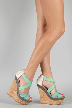 Dollhouse Precise Criss Cross Platform Wedge- $32.80
